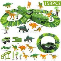 153PCS Dinosaurio Pista de Carreras Coche Set Juguete Puzzle Raíl Modelo DIY