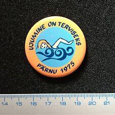 Pin Badge USSR. Pärnu Estonia 1975 SWIMMING is HEALTH! RARE. METAL.