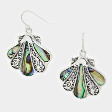 "Sea Shell Earrings Sealife Abalone Shell SILVER 1.5"" Drop Beach Surfer Jewelry"