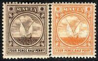 Malta 1904 brown 4.5d orange 4.5d multi-crown mint SG57/58