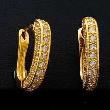 Gift Box Pack 24K Gold Plated Clear Cubic Zircon 30*20 mm Girl Hoop Earrings