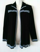 WOMEN'S EXCLUSIVELY MISOOK BLACK BLUE TRIM LONG SLEEVE CARDIGAN JACKET SIZE PS