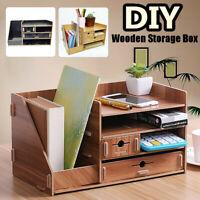 DIY Multilayer Wooden Storage Box Case Home Office Desk Table Organizer