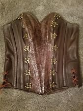 Custom Leather Corset Steampunk Medieval Renaissance Fair Costume Size 12