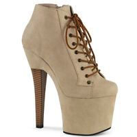 Pleaser RADIANT-1005 Women's Beige Faux Suede Heel Platform Lace-Up Ankle Bootie