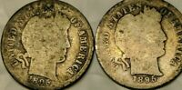 1895 S Silver Barber Dimes 2 Coins