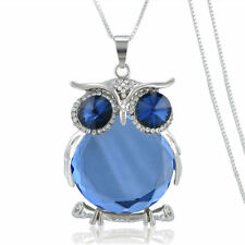 Blue Crystal/Rhinestone Large Owl Pendant Necklace w/Free Jewelry Box and Ship
