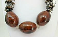 Tiger Eye Chips and Ceramic Brown Beaded NECKLACE You and I Brand Signed Chunky