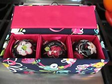 VERA BRADLEY~ RIBBONS SET OF 3 2012 ORNAMENTS IN BOX ~ BREAST CANCER AWARENESS