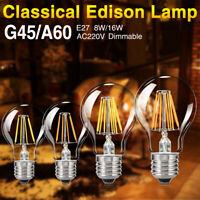 E27 220V DIMMABLE EDISON BULB FILAMENT COB LED LIGHT RETRO G45/A60 BALL LAMP ED