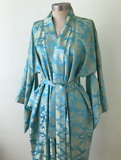Vintage Turquoise Gold Brocade Kimono Robe Japanese Belt Made in Japan