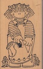 """watering can love u to bits Wood Mounted Rubber Stamp 2 1/2 x 4""""  Free Shipping"""