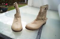 LIEBESKIND Damen Schuhe Boots Stiefel Stiefeletten Gr.37 beige weiches Leder TOP