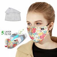 1 Masque de protection tissu coton lavable avec 2 filtres PM 2.5