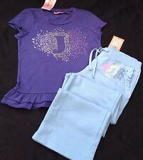 Nuevo con etiquetas Juicy Couture Nuevo Azul Algodón Chándal Pantalones & que empareja T. Camisa Niñas Edad 8