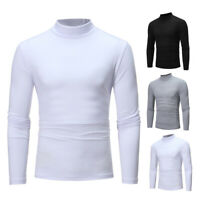 Mens Turtle Neck T-Shirts Pullover Jumper Long Sleeve Tops Cardigan Undershirt