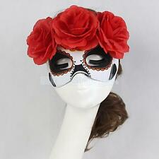 Women Venetian Flower Masquerade Costume Dance Party Halloween Eye Mask Red