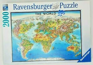 Ravensburger Jigsaw Puzzle The World Map 2000 Pieces Made In Germany 166831