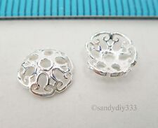 6x BRIGHT STERLING SILVER FLOWER BEAD CAP 7.5mm SPACER BEAD #2482