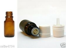 6X 10ml Essential Oil Glass Bottles Tamper Evident W Cap Dripolator FREE POSTAGE