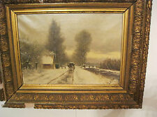 Manner, Louis Apol   Wintry Scene, horse and Carriage 19th century European oil