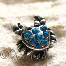 Turquoise Teal Crab Crystal Bead For European Charm Bracelets - Cancer Zodiac