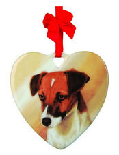 FREE SHIPPING JACK RUSSELL CERAMIC HEART ORNAMENT DOG BREED sale! NEW N PKG Gift