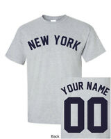 New York CUSTOM Name & Number T-Shirt Jersey Personalized Yankees Giants Tee New