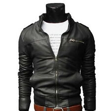 Men's Fashion New Jackets Collar Slim Motorcycle Leather Jacket Outwear Coat A