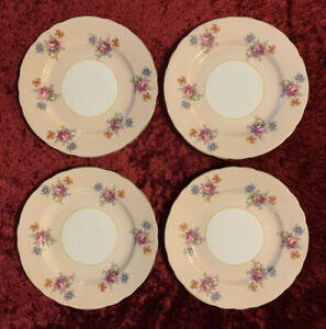 Set Of 4 Vintage Aynsley Side Plates Pale Pink With Flowers Cake Bread