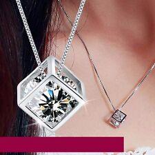 Silber pl. Halskette Kette 45cm Klar Stein Zirkonia Quadrat Quadrat Kub Anhänger