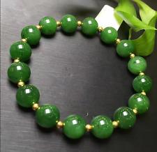 10mm Green 100% Natural JADE Jadeite Round Gemstone Beads Bangle Bracelet