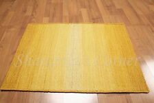 Accent Rug 100% Wool 2x3 Multi-use Textured Gold Ombre RUG Foyer Den Bath