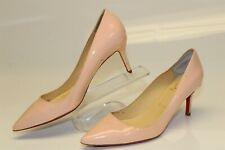 Christian Louboutin Paris Womens 7 37 Nude Patent Simple Classic Heels WH227-1