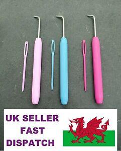 Loom Hook & Plastic Needle Loom Knitting Spare Hooks Hot Pink Blue & Pink