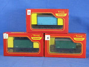 HORNBY/TRIANG OO GAUGE WAGONS R14 INSULFISH VAN + 2 x R11 GWR CLOSED VANS