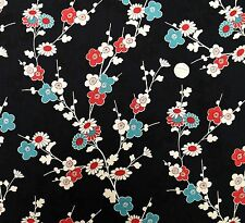 Oriental Sakura Blossom on Black fabric fq 50x56 cm MK 1376 X 100%Cotton