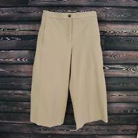 Ann Taylor Capri Pants Womens Size 8P Brown Flat Front Wide Leg Pockets NWT $98