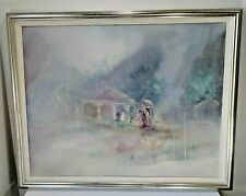 Gaston Petridis Vintage Oil On Canvas Painting 27x34 Framed Signed French Gazebo