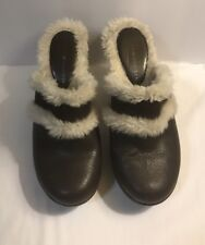 Tommy Hilfiger Merry Mules Size 7 Brown Leather Faux Fur Chunky Clog Platforms