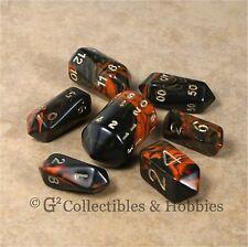 NEW 7 Orange Black Crystal Oblivion RPG D&D Gaming Dice Set Barrel 7pc D20 D4 +