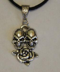 Tibetan Silver Large Twin Skull & Rose Pendant On Black Genuine Suede Necklace