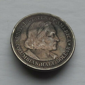 U.S. 1892 Columbian Commerative Half Dollar with pin back brooch .900 fine