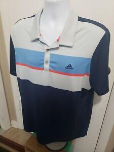 Adidas Golf Climacool Polo Shirt Men's Large L Multi-Color Striped