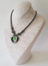Halskette Kette Hämatit Stein(Blutstein) In Herz Form Mit Grün Perlen