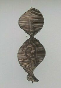 Hand Made Wood Wind Twister Large Ethnic Brown Spiral Ornament wind spinner 40cm