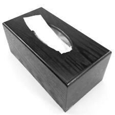 1pc Wooden Tissue Paper Storage Box Car Napkin Case Cover Black Rectangle