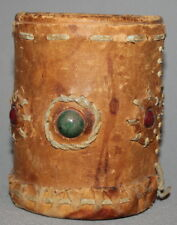 VINTAGE HAND MADE GENUINE LEATHER CUP HOLDER WITH STONES