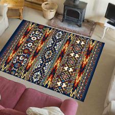 Teppich Wohnzimmer Modern Vintage Retro Look Nordisch Kamal Blau-Mehrfarbig