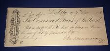 Commercial Bank Of Scotland Linlithgow 1866 Vintage Bank Cheque